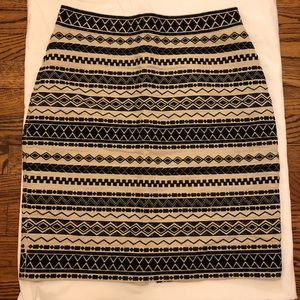 Kate Spade Cream/Black Aztec Linen pencil skirt
